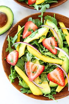 Mango, Strawberry, and Avocado Arugula Salad Recipe on twopeasandtheirpod.com. Love this beautiful and healthy salad! #salad #glutenfree #vegan