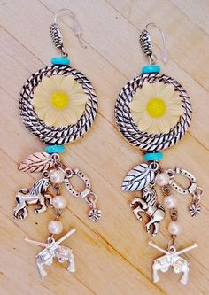COUNTRY COWGIRL EARRINGS Turquoise  & Yellow Daisy Feather Horse Horseshoe & Sterling Silver Sixshooter Charms Long Dangle Western Earrings $29