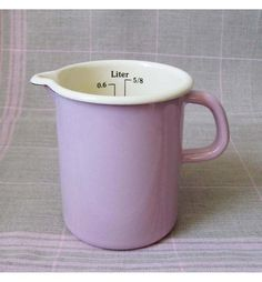 A slightly smaller and pinker and therefore more adorable version of the white measuring jug.Made by the Riess family in Austria.