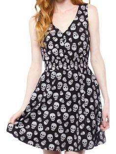 Sourpuss Women's Skulls Gauzy Dress - Black