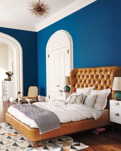 Leather Tufted Wingback Bed #Anthropologie