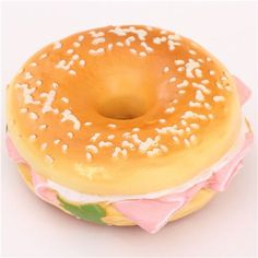 soft ham bagel sponge squishies charm for cellphone, bag, key etc. N de Bakery, cute bagel sandwich sponge squishy charm cellphone charm with ham and salad Bread Squishy, Cake Squishy, Slime And Squishy, Silly Squishies, Croissant Donut, Bagel Sandwich, Modes4u, Clay Food, Pink Cupcakes