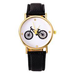 2016 New Quartz Watch Ladies Casual Watch Cartoon Bicycle Belt Pattern Table Quartz Watch Women Stainless Dress