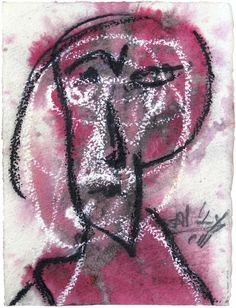 "Skot Foreman Gallery Alejandro  Santiago ""Untitled (Portrait)"" 2011 Watercolor, oil stick and graphite on archival paper    7.5 x 5.5 in  20 x 15 cm Hand-signed and dated lower right Certificate of Authenticity from the artist"