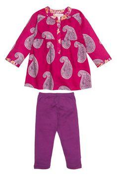 Masalababy 'Muni' Paisley Print Dress & Leggings (Baby Girls)