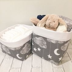 Lullaby Pair of Storage Baskets   Nappy Storage Nursery Decor