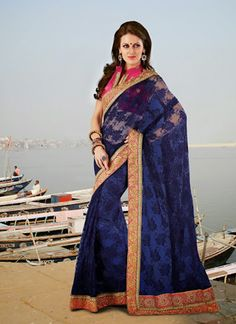 Dark Blue #Indian #Saree ,For #Wedding Guest