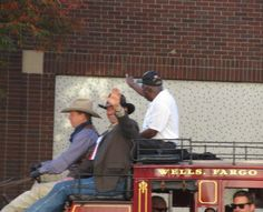David Dyson and Melvin Carrington Smith of Life Leaders are guests on the Wells Fargo Stagecoach Driver Kevin Paul, Veterans Day Parade, Birmingham, 2013