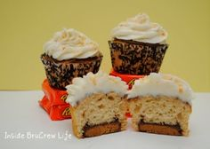 Peanut Butter Cupcakes with Reeses Baked Inside!  Holy Smokes!