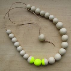 Necklace with Hand Painted Wooden Beads & Leather - Eco-friendly. €32.00, via Etsy.