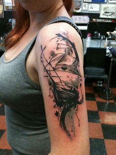 beautiful ship. love the subject and style, and i'm jealous.  (by Jason Graham at Sea Tramp in Portland, OR.)
