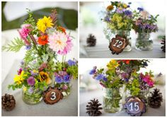 Love these centerpieces & table numbers!