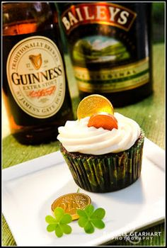 Chocolate Guinness Cupcakes Makes approximately 20-24 cupcakes Cupcake Ingredients: 2 cups all purpose flour 1/2 cup cocoa powder 1/4 tsp salt 1 1/2 tsp baking soda 1 cup granulated sugar 1/2 cup light or dark brown sugar 4 oz (1/2 cup) unsalted softened butter 2 tsp vanilla extract 2 eggs 1/2 cup sour cream 1 bottle (12 fl. oz) Guinness Stout (1 1/2 cups) Cupcake Directions: 1) Preheat oven at 350 degrees. 2) Line cupcake tins with paper liners 3) In a large bowl whisk together flour, cocoa…