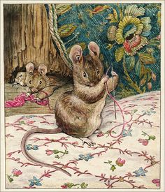 """Beatrix Potter 'The Tailor of Gloucester' """"The buttonhole stitches were so small- so small - as if made by little mice!"""" Helen Beatrix Potter – English author, illustrator, mycologist and conservationist Art And Illustration, Watercolor Illustration, Gloucester, Beatrix Potter Illustrations, Book Illustrations, Beatrice Potter, Peter Rabbit And Friends, Marjolein Bastin, Oeuvre D'art"""