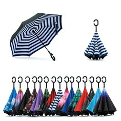 Double Layer Inverted Umbrellas with Distressed American Georgia Flag Print Reverse Folding Umbrella for Car