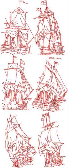 Advanced Embroidery Designs - Sailing Ships Redwork Set