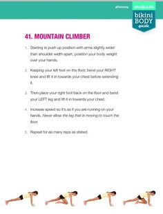 by Tiare Kirkland Bikini Body Guide, Fit Board Workouts, Workout Board, Mountain Climbers, Kayla Itsines, Bbg, Bikini Workout, Bikini Bodies, Body Weight