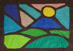 'stained glass' tissue paper and black construction paper project.