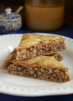 Honey walnut baklava is crispy because it is drenched in honey, and not a syrupy sugar and water glaze which softens the phyllo pastry. I bet you'll love it