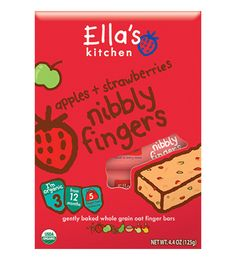 The perfect nibble... apples + strawberries nibbly fingers - snack bars with organic apples + strawberries and no concentrates or refined sugars.
