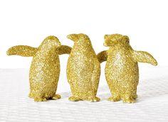 Gold Penguins Decor Christmas Glitter