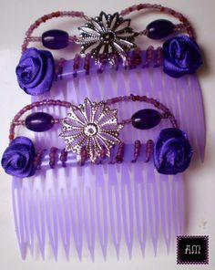 """Peinetas DOBLES: Modelo Doble """"filigranas 2"""" color violeta. Se realizan a pedido del color que quieras! - AmapolasMoras - Complementos Flamencos - Argentina"""