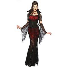 Disfraces+de+Cosplay+/+Ropa+de+Fiesta+Cuento+de+Hadas+/+Vampiros+Festival/Celebración+Traje+de+Halloween+Rojo+y+Negro+EncajeFalda+/+–+EUR+€+25.47