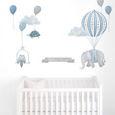Personalized Floating Elephant - Fabric Wall Decal - Nursery Daydreams - Blue - Mej Mej by ShopMejMej on Etsy https://www.etsy.com/listing/275730628/personalized-floating-elephant-fabric
