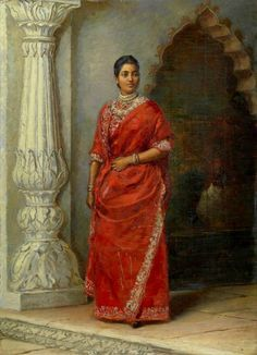Suniti Devi, Maharani of Cooch Behar (also the grandmother of Gayatri Devi) in The sari is worn Bengali style, the blouse cannot be seen but is possibly the fuller versions worn in this period. Vintage India, Indian Dresses, Indian Outfits, Pakistani Outfits, Maharani Gayatri Devi, Royal Indian, Indian Paintings, Ravivarma Paintings, Indian Artwork