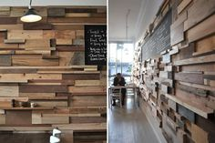 Recycled wood wall - I will be using the pallets I got to make the wall behind the bar looks like this. Before and after pics to come!