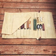 Waxed Canvas and Leather Chef Knife Roll- The Proper Knife Roll - Large