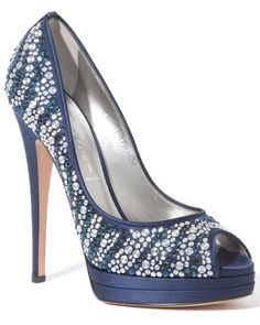 Casadei ~ Crystal and Blue Faceted Peep Toe Pumps
