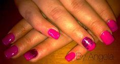 #pink #purple #nail #art #glitter