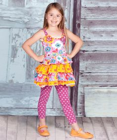 Look at this #zulilyfind! Yellow Violet Elizabeth Tunic & Pants - Infant, Toddler & Girls #zulilyfinds