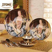 Slap up estilo europeo de cerámica de China de hueso platos y vajilla platos tazas de café cuchara tenedor cuchillo(China (Mainland))