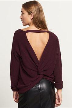 Twist Back V-Neck Sweater