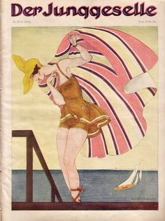 cover illustration for Der Junggeselle / The Bachelor, 1923 Million Dollar Mermaid, Berlin Germany, Editorial Design, Vintage Images, Magazine Covers, Mermaids, Art Deco, Illustration, Painting