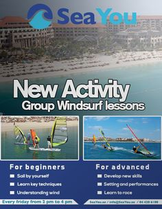 Every Friday we will be hosting GROUP windsurf lessons with coach Adrien. The 2 hour lesson will cover everything you need to know for beginners to advanced windsurfers