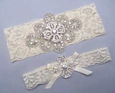 Crystal Rhinestone Bridal Garter Set Keepsake And Toss Garters White Ivory Lace Wedding