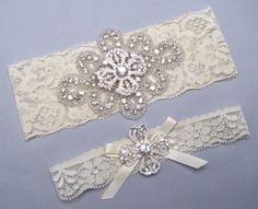 Crystal Rhinestone Bridal Garter Set Keepsake And Toss Garters White Ivory Lace Wedding