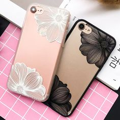 Luxury Engraving Flower Case For iphone 6 Case For iphone 6S 7 7 PLus Back Cover Fashion Lace Floral Phone Cases Cartoon Capa