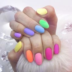 There are three kinds of fake nails which all come from the family of plastics. Acrylic nails are a liquid and powder mix. They are mixed in front of you and then they are brushed onto your nails and shaped. These nails are air dried. Best Acrylic Nails, Acrylic Nail Designs, Fruit Nail Designs, Toenail Art Designs, Acrylic Tips, Colorful Nail Designs, Spring Nail Art, Spring Nails, Nagellack Design