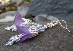 Lucite Lily Flower Earrings  Bliss  Hand by whiteravendesignsau, $22.50