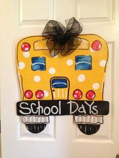 School Bus Door Hanger Classroom Door Decor Wood Cut Out Wooden Wreath Sign Burlap Projects, Burlap Crafts, Wooden Crafts, Teacher Appreciation Gifts, Teacher Gifts, Bus Crafts, Teacher Door Hangers, Burlap Signs, Wooden Wreaths