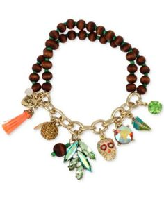 Betsey Johnson Gold-Tone Wooden Beaded Stretch Charm Bracelet | macys.com