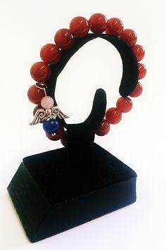 Onyx červený, Ruženín  Náramok na ruku anjelik, Bransoletka, Armband, Armbinde