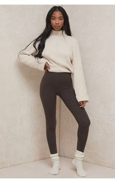 Clothing : Trousers : 'Asmara' Chocolate Jersey Ultra High Waist Coverstitch Leggings