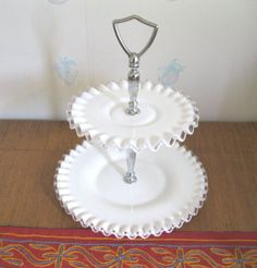Fenton 2 Tier Silver Crest Serving Tray by TheSnapDragonsLair, $39.95