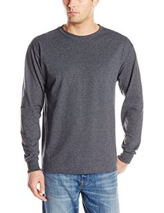 Jerzees Men's Adult Long Sleeve Tee, Black Heather, Large. Crew-neck long-sleeve T-shirt in heavyweight jersey with lay-flat collar.