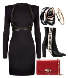 Black, Red & Gold by carolineas on Polyvore featuring polyvore, fashion, style, Balmain, Havva, Valentino, Bulgari, Bee Goddess and clothing